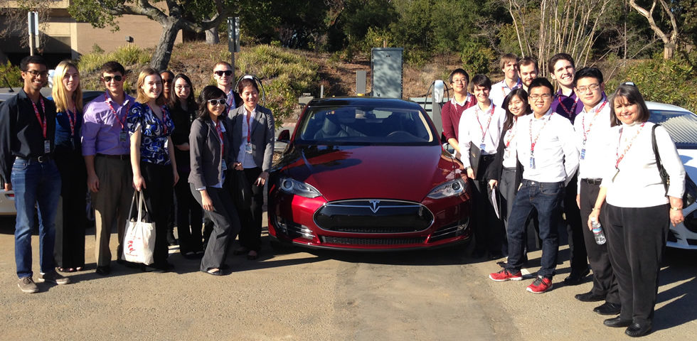HMC group with new Tesla at the headquarters in Palo Alto.