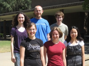 Top row: Anastasia, Prof. Vosburg, Cory. Bottom row: Katie, Mary, Erin.