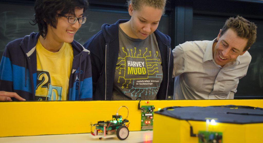 professor and students in E 11 robotics class