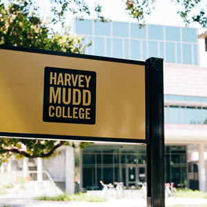 Close up of Harvey Mudd sign on campus.