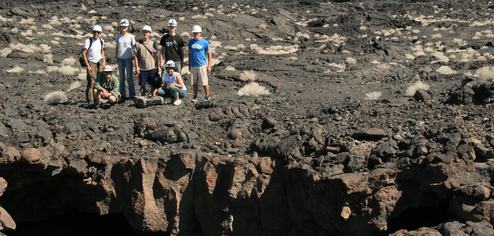 Students on lava flow